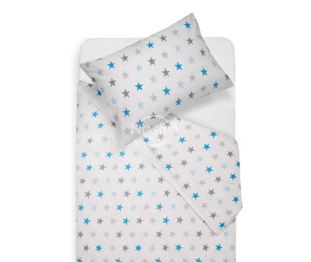 Bērnu katūna gultas veļa STARS 10-0052-L.GREY/L.BLUE