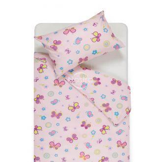 Bērnu katūna gultas veļa SPRING & BUTTERFLIES 10-0435-ROSA