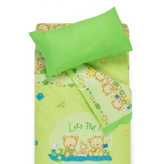 Bērnu katūna gultas veļa BEARS 10-0215/00-0361-L.GREEN/SUMMER GREEN