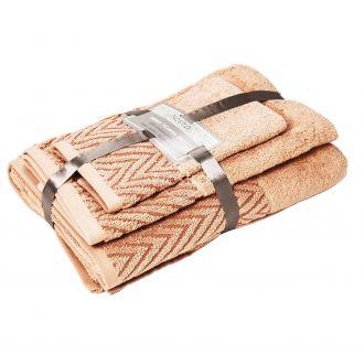 3 pieces towel set T0108 T0108-PEACH NECTAR