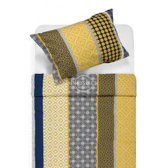 Cotton bedding set DYLAN 30-0578-YELLOW BLUE