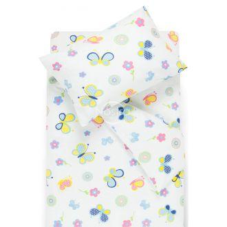 Bērnu katūna gultas veļa SPRING & BUTTERFLIES 10-0435-WHITE