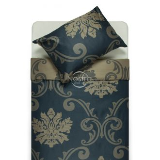 Premium maco sateen bedding set CHRISTINA 40-1047-BLUE/SILVER GREY