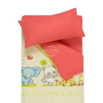 Bērnu katūna gultas veļa PANDA 10-0264/00-0359-L.BEIGE/SWEET CORAL
