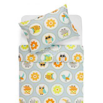 Bērnu katūna gultas veļa HAPPY OWL 10-0012-AQUA
