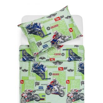Children bedding set MOTORBIKE 10-0166-GREEN
