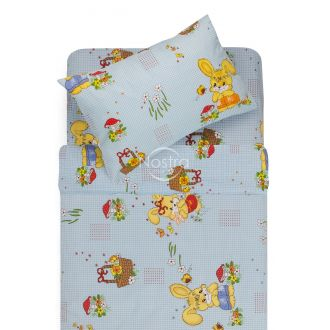 Bērnu katūna gultas veļa HAPPY BUNNY 10-0355-BLUE