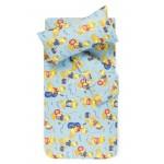 Bērnu katūna gultas veļa DANCING DUCKS 10-0057-L.BLUE