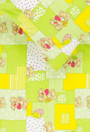 Bērnu katūna gultas veļa LITTLE BEAR & HEARTS