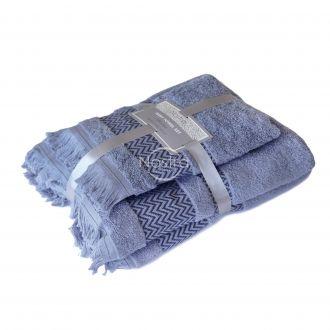 2 pieces towel set 550DOBBY T0058-STONE BLUE