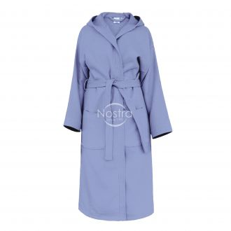 Hooded bathrobe PIQUE 380 BATHROBE-STONE BLUE