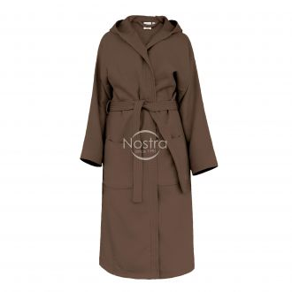 Hooded bathrobe PIQUE 380 BATHROBE-DARK CHOCO