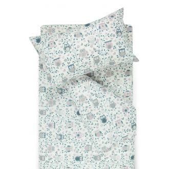 Bērnu katūna gultas veļa LITTLE OWLS 10-0423-GREY