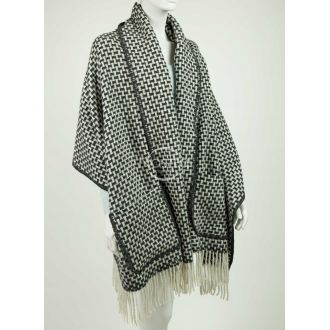 Scarf with pockets ALASKA 80-3039-DARK GREY WHITE