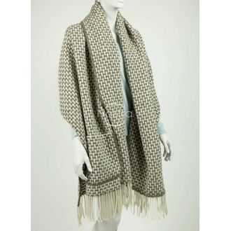 Scarf with pockets ALASKA 80-3039-LIGHT BROWN WHITE