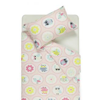 Bērnu katūna gultas veļa HAPPY OWL 10-0012-PINK