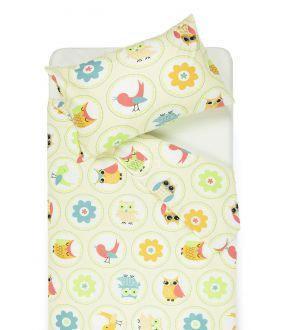 Bērnu katūna gultas veļa HAPPY OWL 10-0012-BEIGE