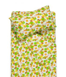 Bērnu flaneļa gultas veļa SMALL BEARS 10-0384-GREEN