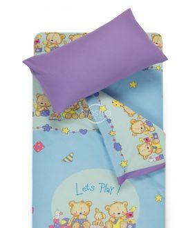 Bērnu katūna gultas veļa BEARS 10-0215/00-0139-L.BLUE/ORCHID BLUE