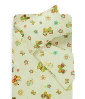Bērnu katūna gultas veļa SPRING & BUTTERFLIES 10-0435-PAPYRUS