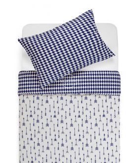 Bērnu katūna gultas veļa ARROW 10-0541/30-0582-WHITE/BLUE